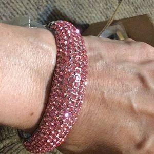 Pink rhinestone cuff bracelet